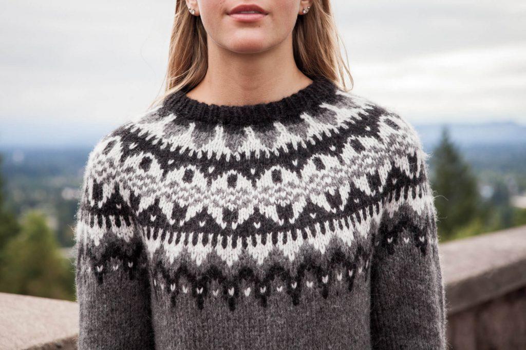 woman wearing Eldfell Pullover snowflake yoke detail
