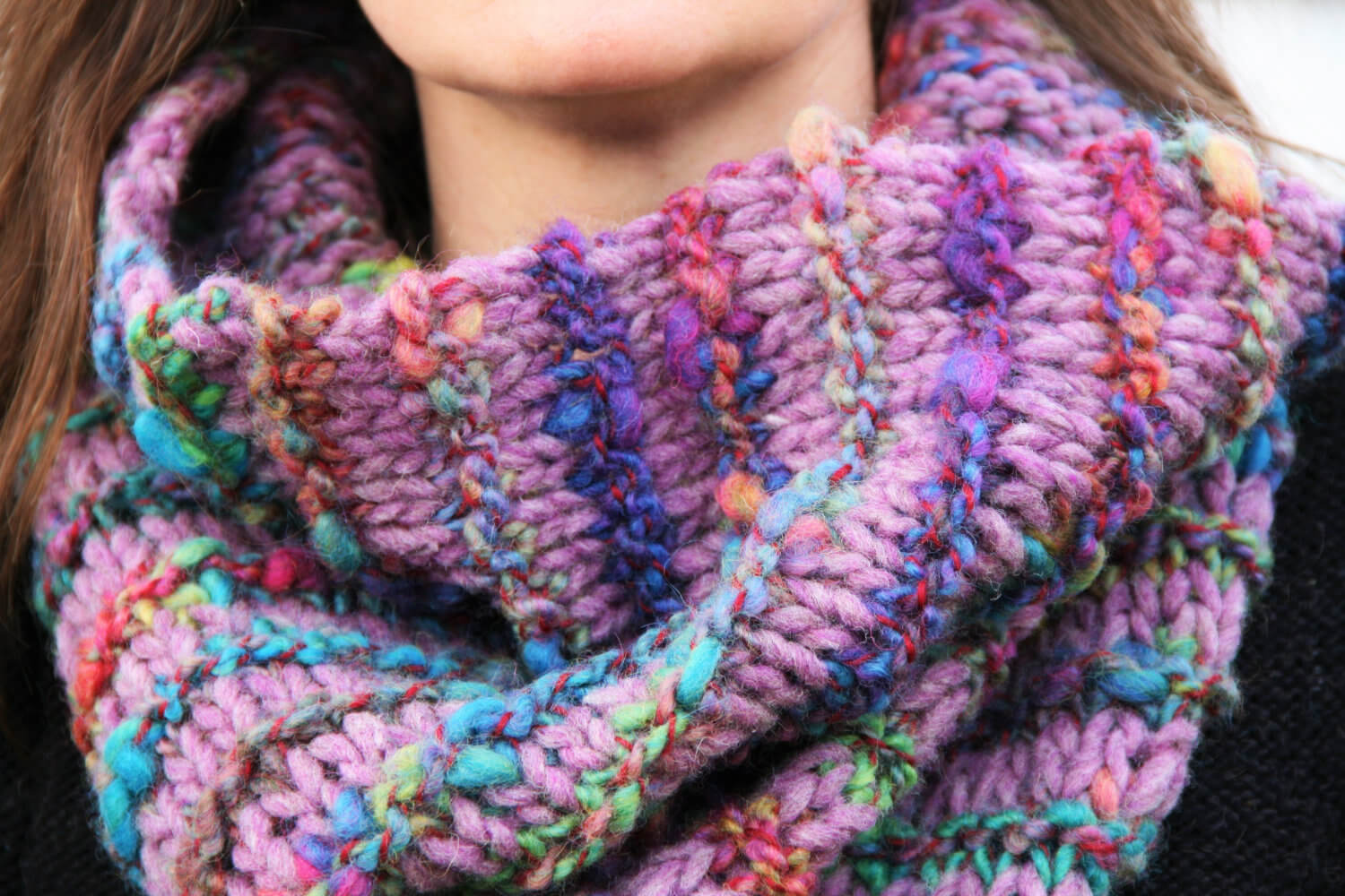 woman wearing Rainbow Ridge Cowl