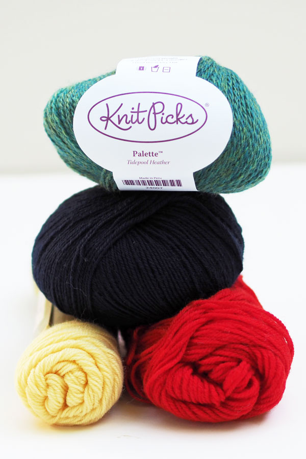 Four color yarns selected for Vesterland Hat