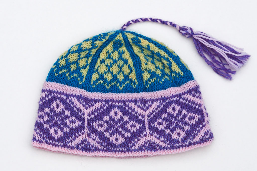 The Vesterland hat in child size and bright colors