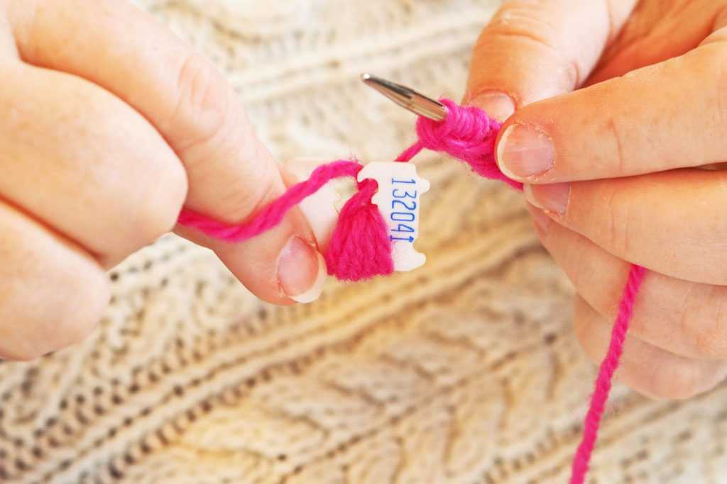 continue wrapping yarn onto clip